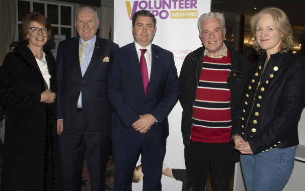 Pictured: Helen Doyle Vice President, David Power PRO, Karl Fitzpatrick,President, Fr Peter McVerry Headline speaker, Calodagh McCumiskey, 2nd Vice President.                                            Volunteer Expo reflects spirit of giving in County Wexford